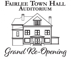 Logo for the re-opening of the Town Hall Auditorium