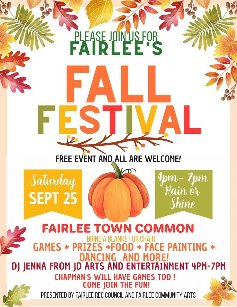 poster for Fairlee Fall Festival